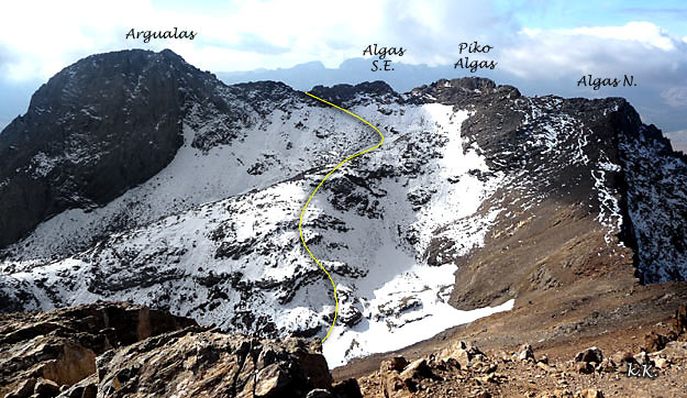 Ascension à Argualas, Algue à crête, Algues nord, Algue du Sud-Est